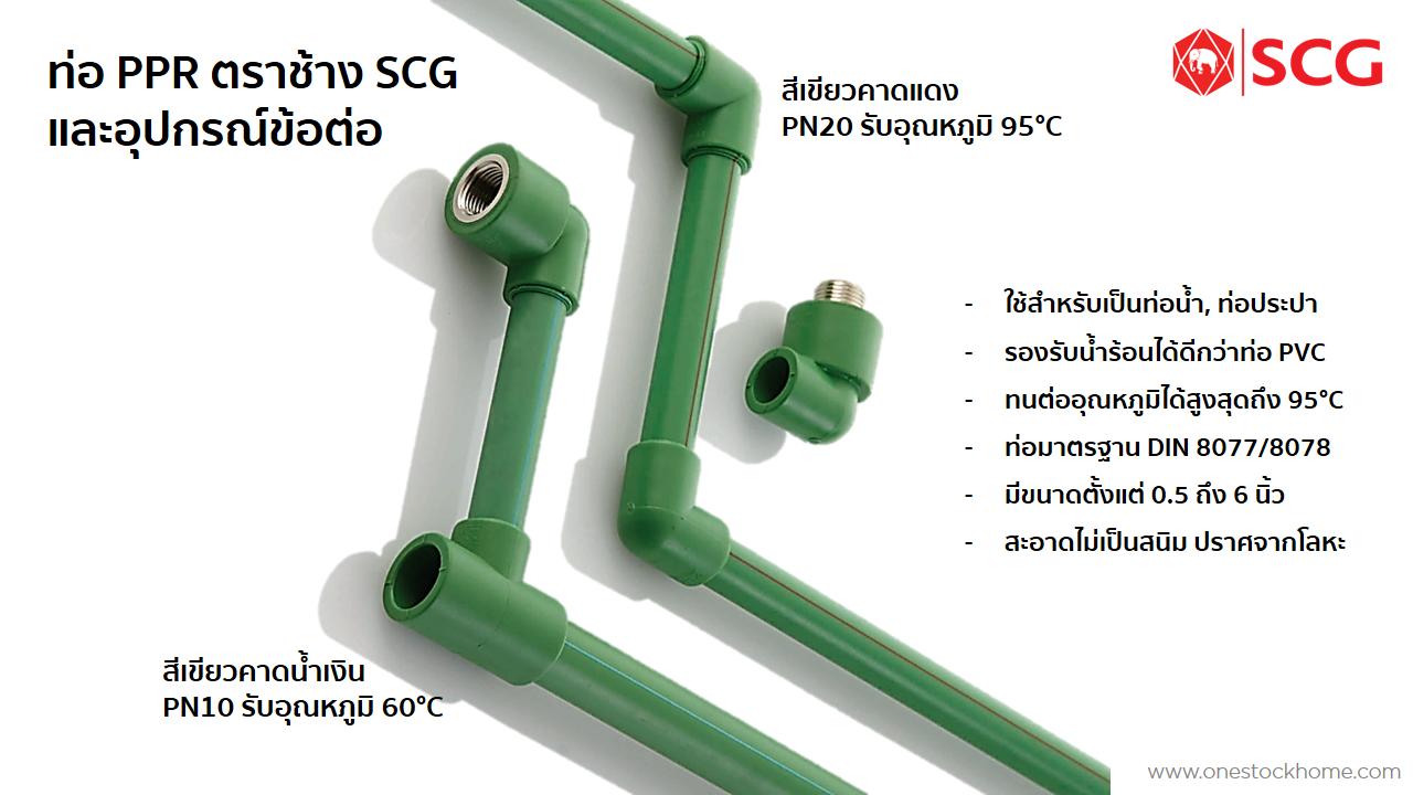 ท่อ PPR ท่อน้ำ SCG สีเขียว